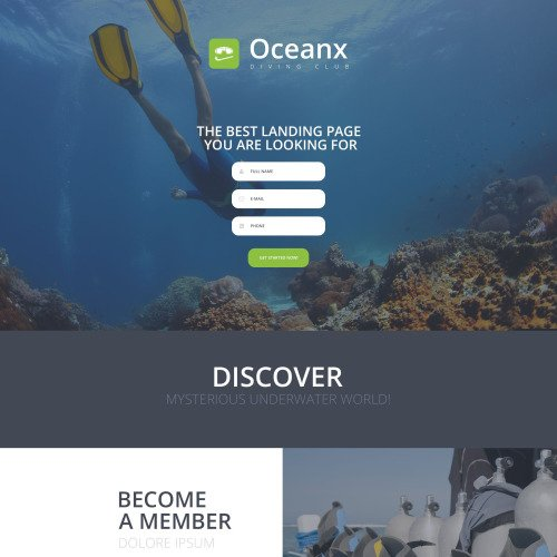 Oceanx - Responsive Landing Page Template