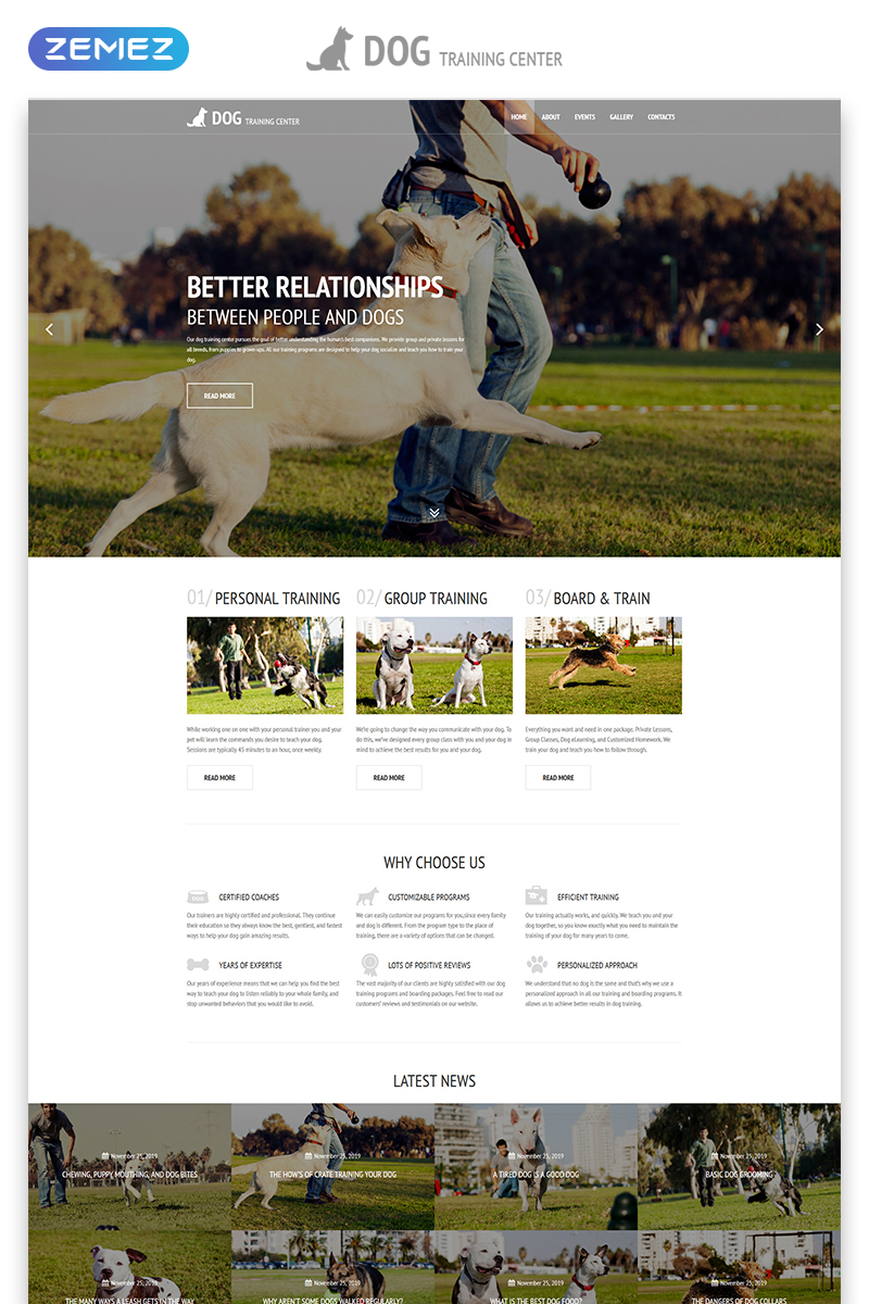 Dog Training Center - Dog Templates Responsive Modern HTML Website Template - screenshot