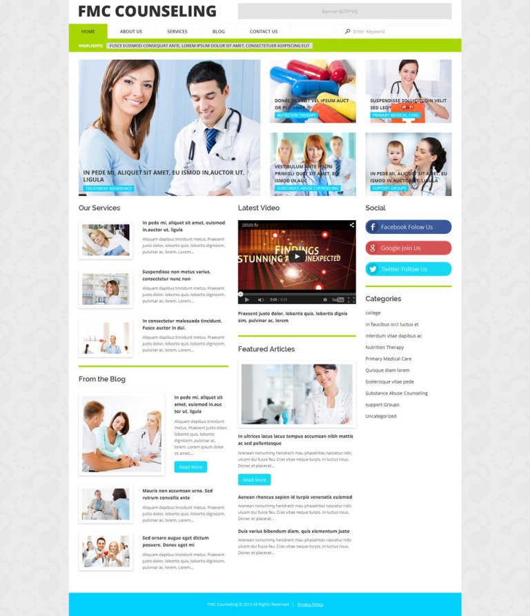 FMC Counseling WordPress Theme New Screenshots BIG
