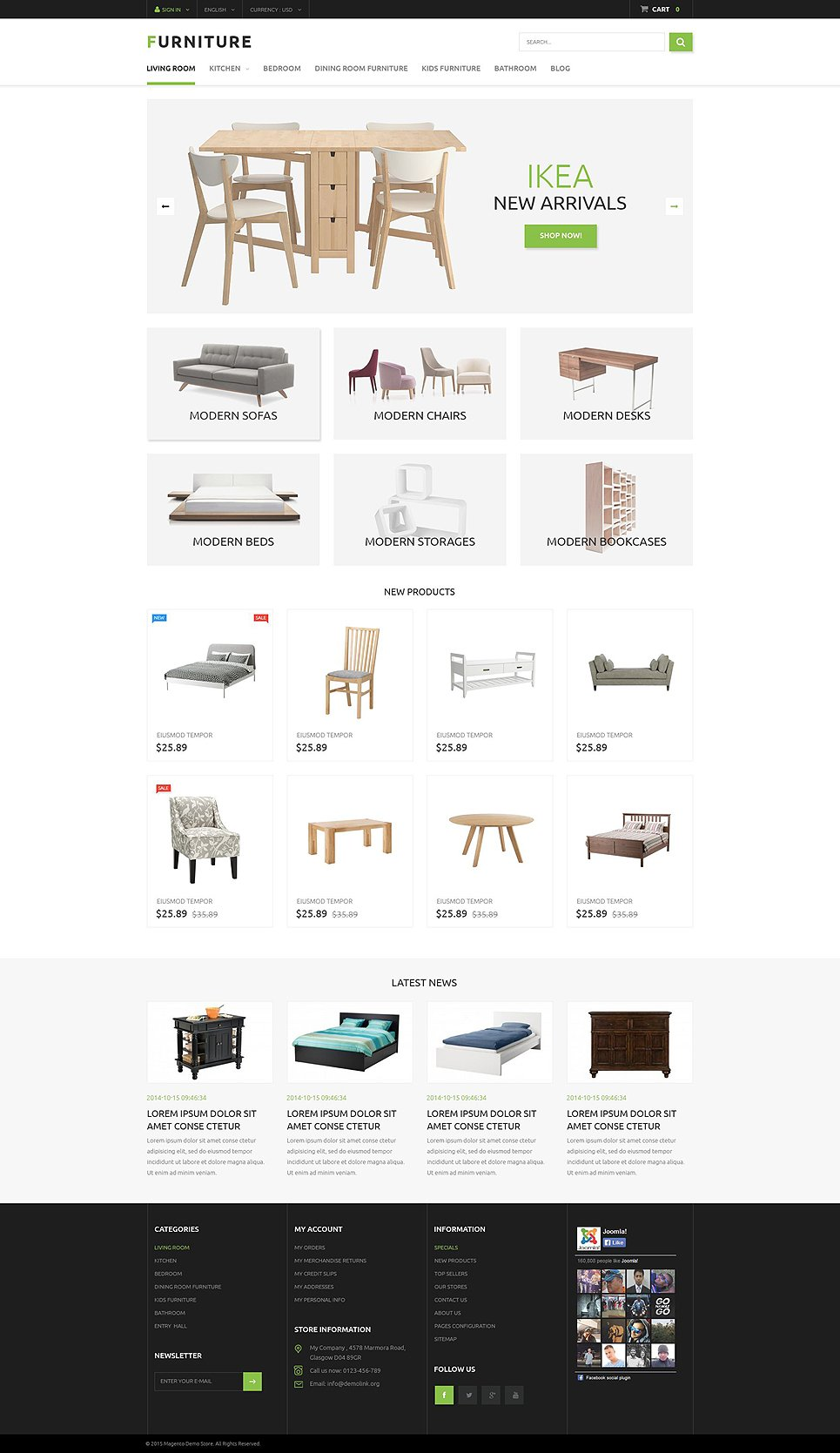 Furniture prestashop template for K furniture mall karur