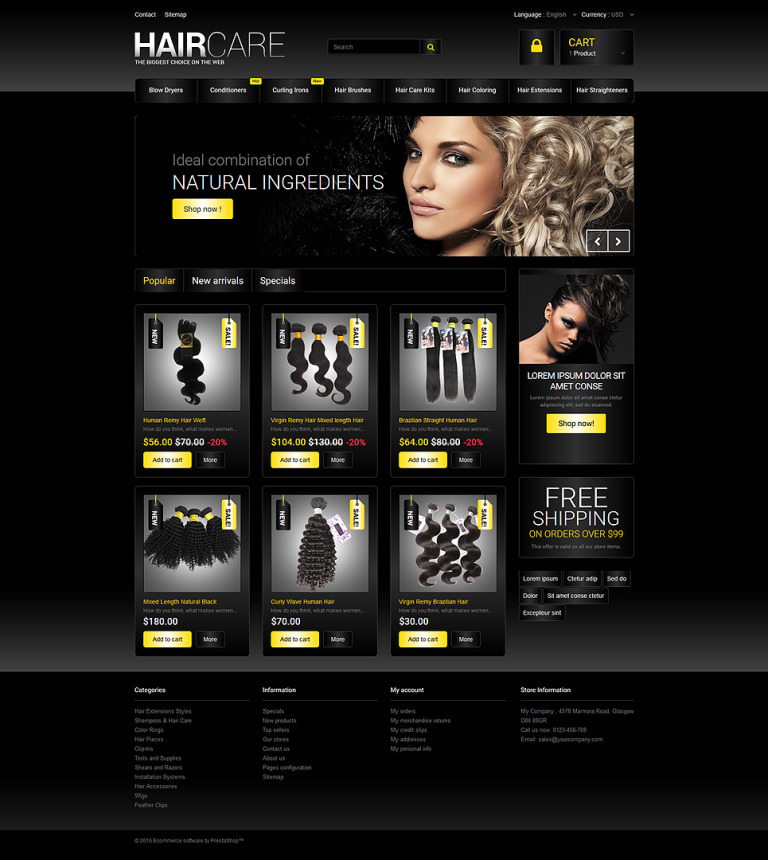 Hair Studio PrestaShop Theme New Screenshots BIG
