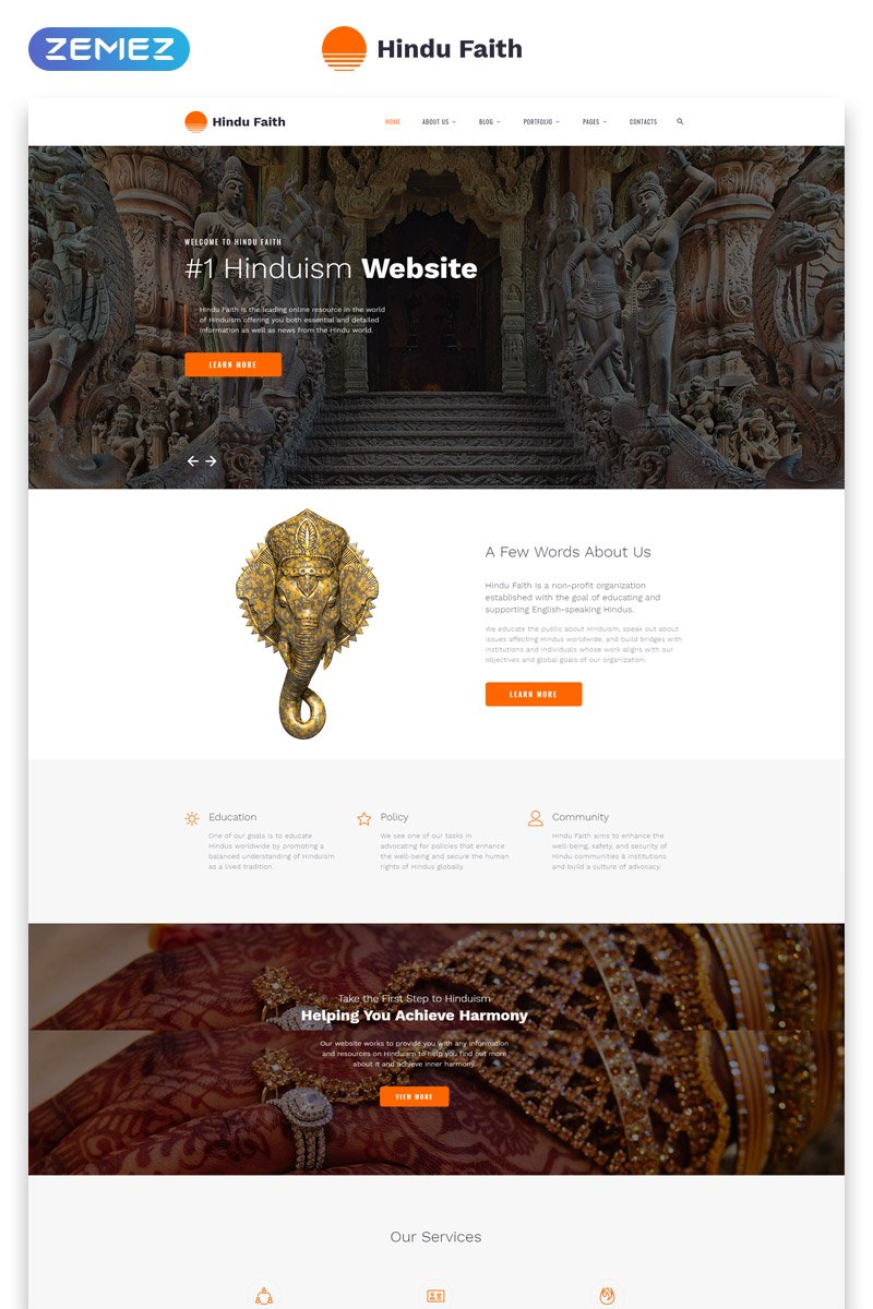 Hindu Faith - Hinduism Multipage Modern  HTML Website Template