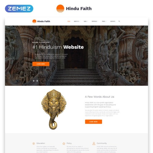 Hindu Temple - Website Template based on Bootstrap