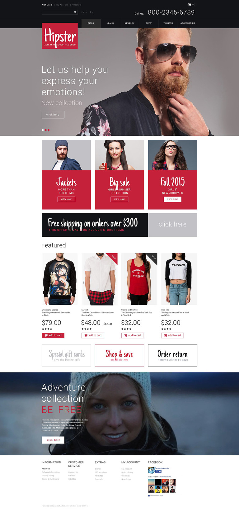 Hipster OpenCart Template New Screenshots BIG