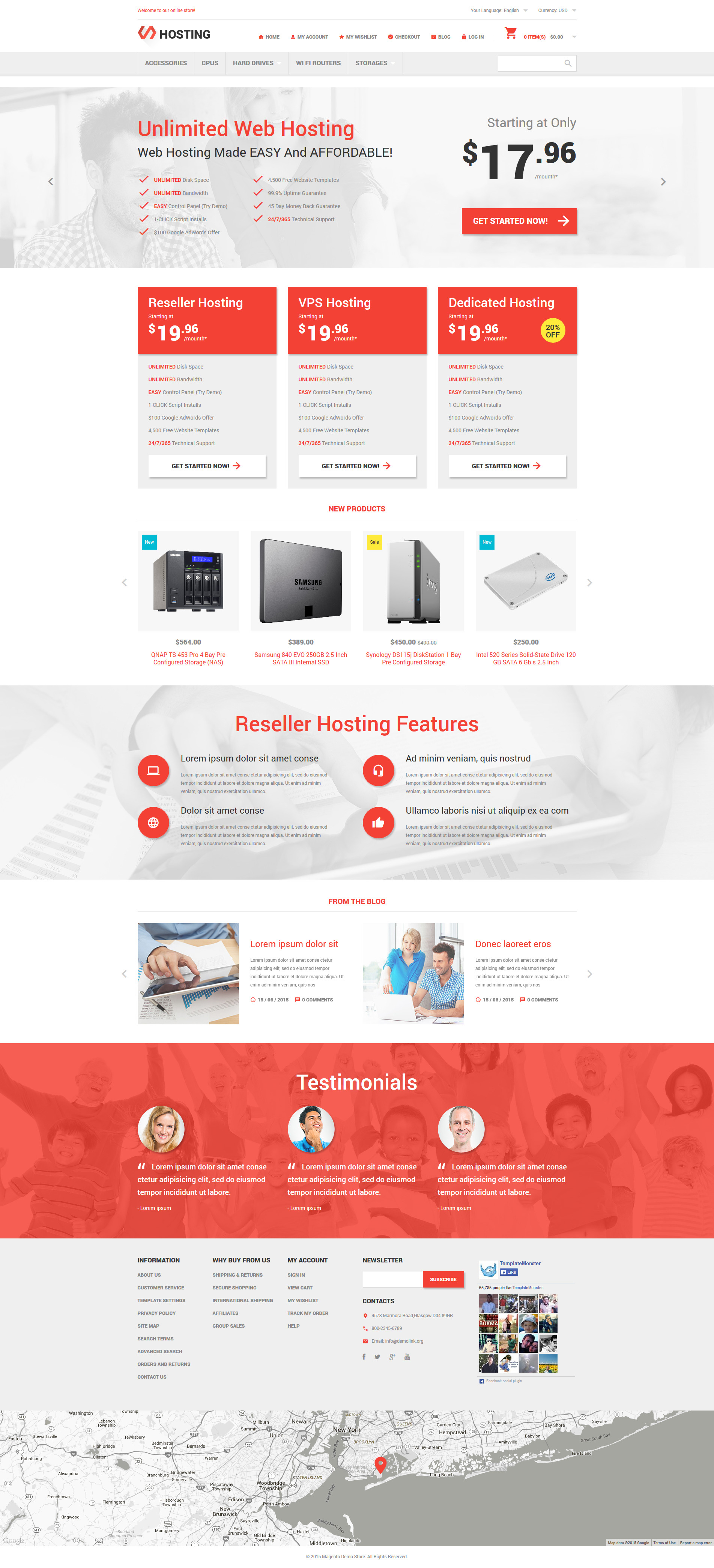 Hosting Online Store Magento Theme - screenshot