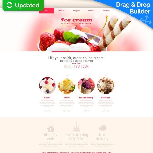 Ice Cream - MotoCMS 3 Template based on Bootstrap