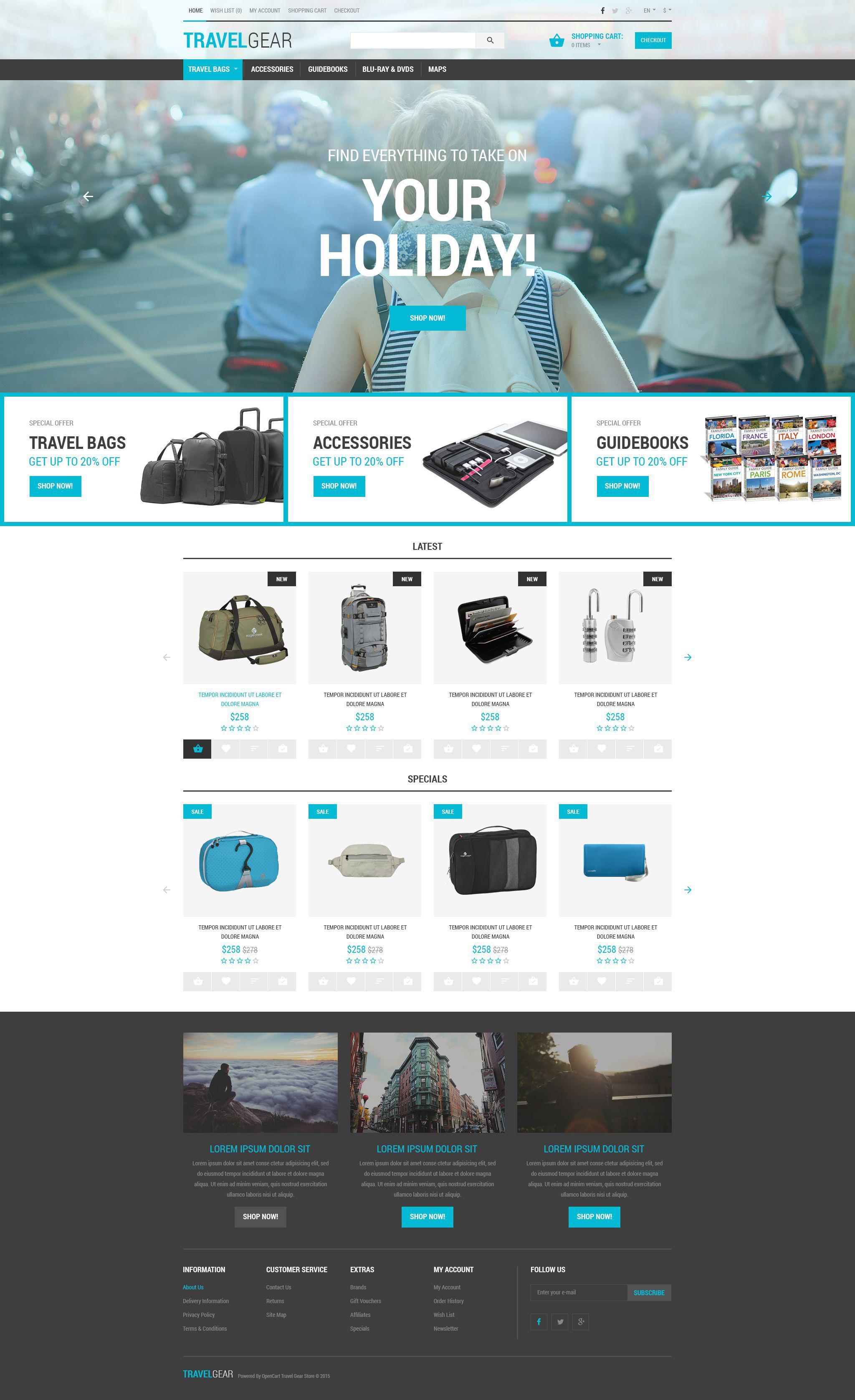 opencart bookstore template - travel gear opencart template
