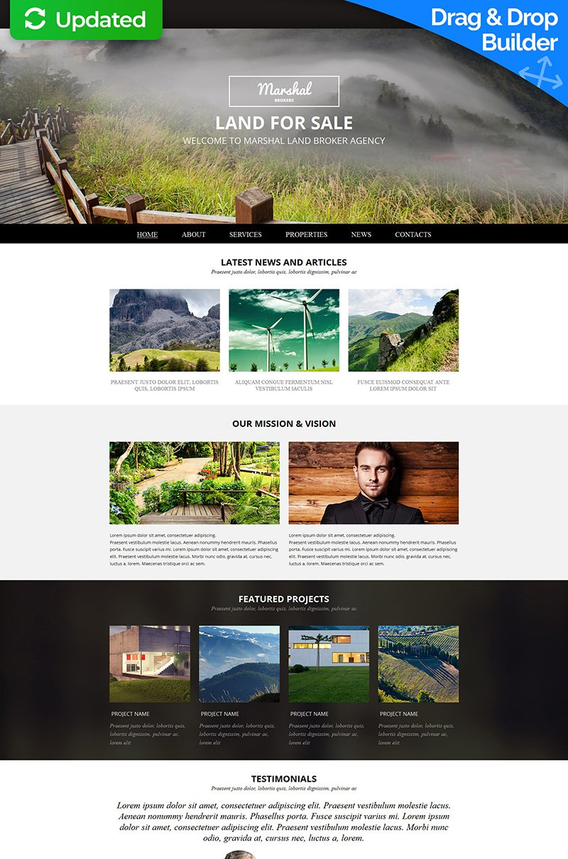 Land Broker Responsive Moto CMS 3 Template - screenshot
