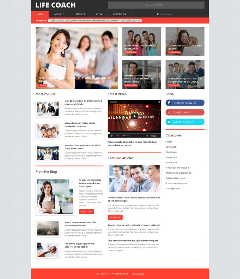 Life Coach WordPress Theme New Screenshots BIG