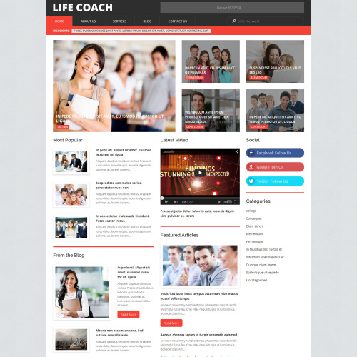 Life Coach - WordPress Template based on Bootstrap