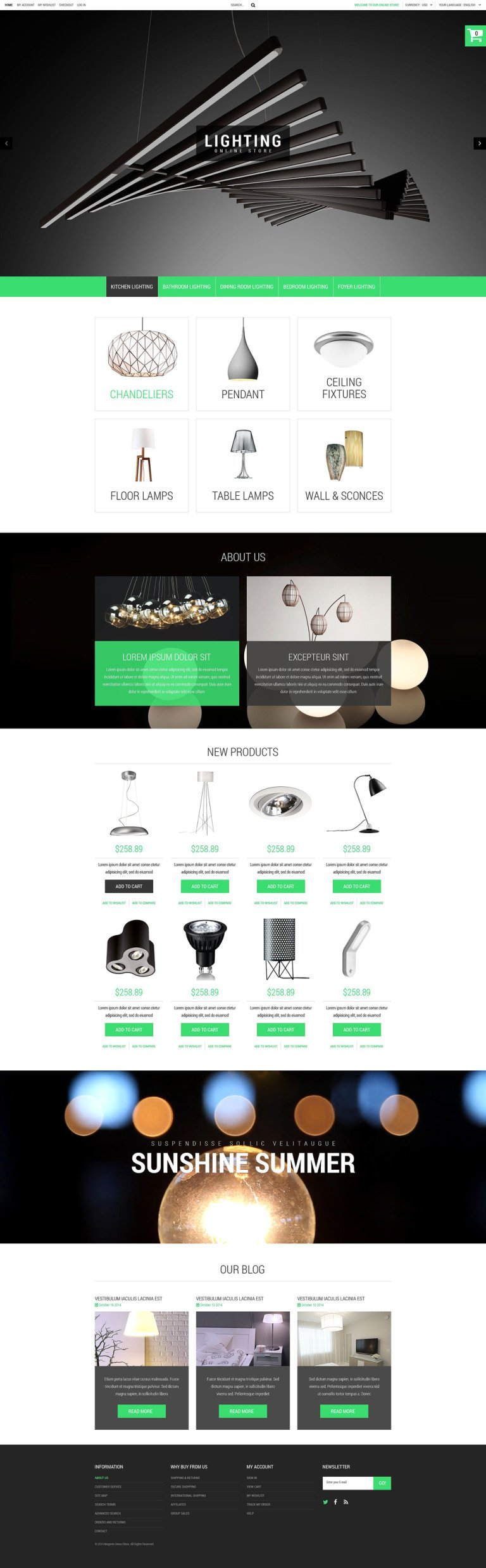 Lighting Online Store PrestaShop Theme New Screenshots BIG