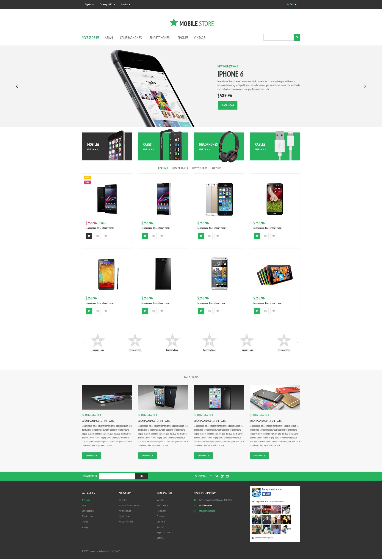 """""""Magasin de téléphones mobiles"""" thème PrestaShop adaptatif #54835 - screenshot"""