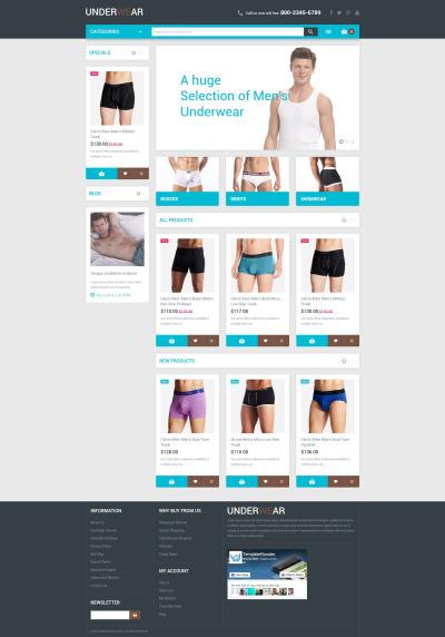 Men's Underwear Responsive Tema Magento