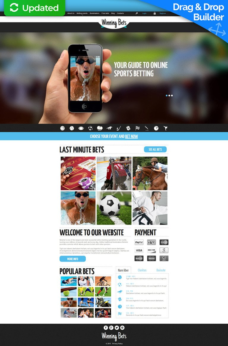 Online Betting Responsive Moto CMS 3 Template New Screenshots BIG