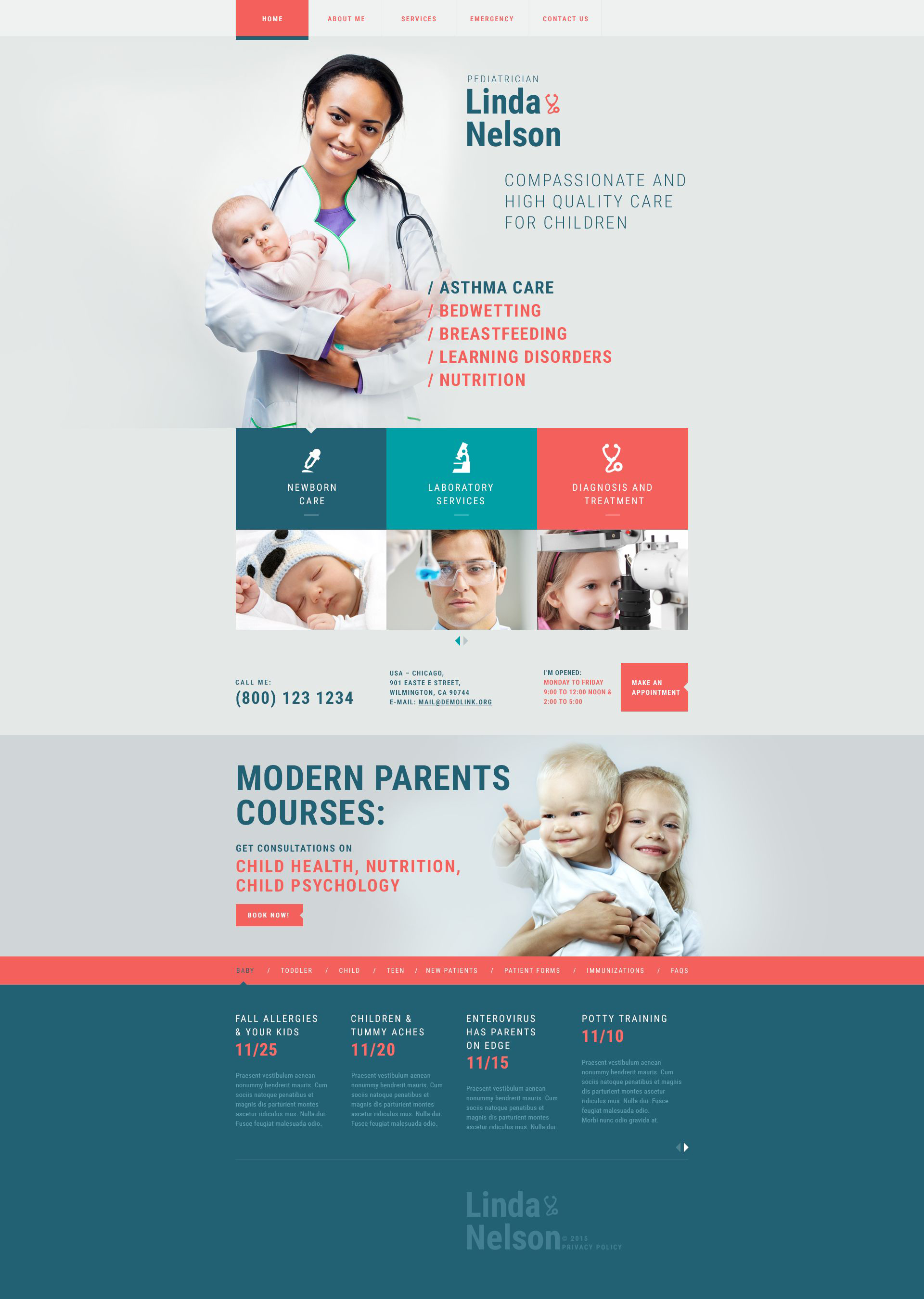 Pediatrician Responsive Website Template - Asthma brochure template