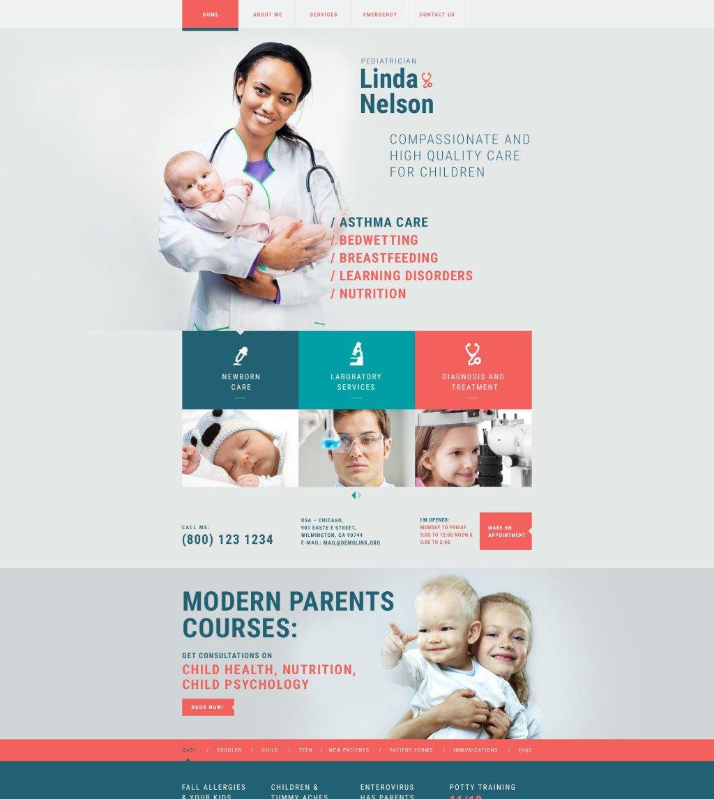 pediatrician responsive website template 54879. Black Bedroom Furniture Sets. Home Design Ideas