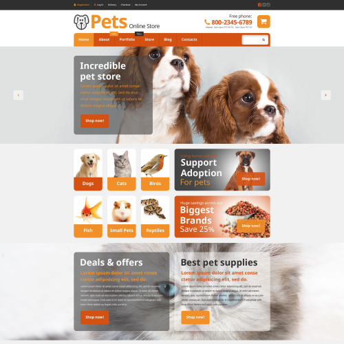 Pets Online Store - WooCommerce Template based on Bootstrap