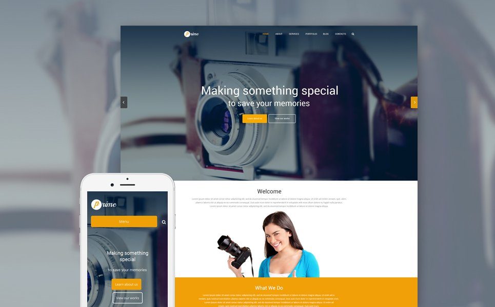 Photographer Portfolio Responsive WordPress Theme #54800
