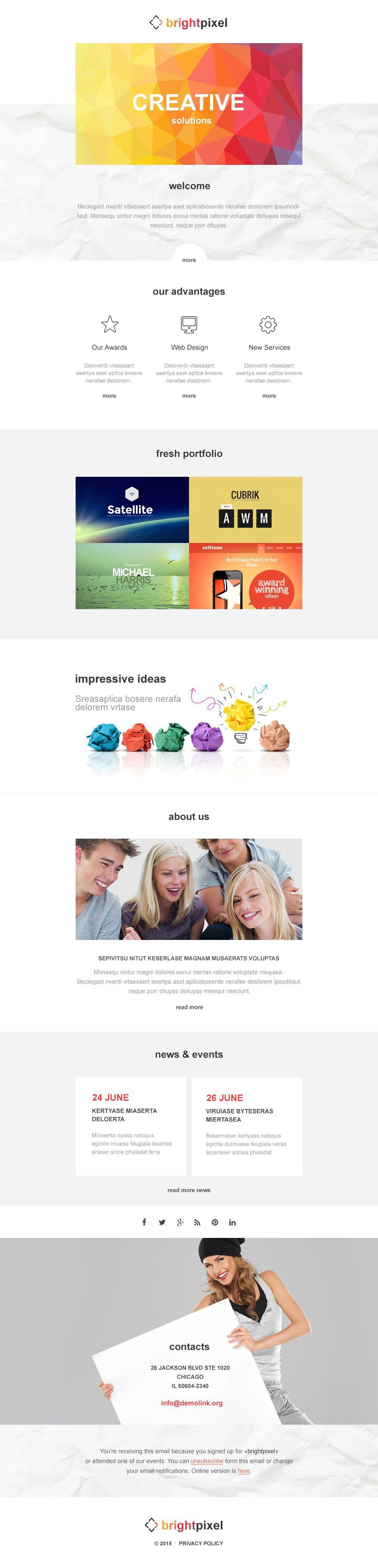 Plantilla De Boletín De Noticias Responsive para Sitio de Estudios de diseño #54862 - captura de pantalla