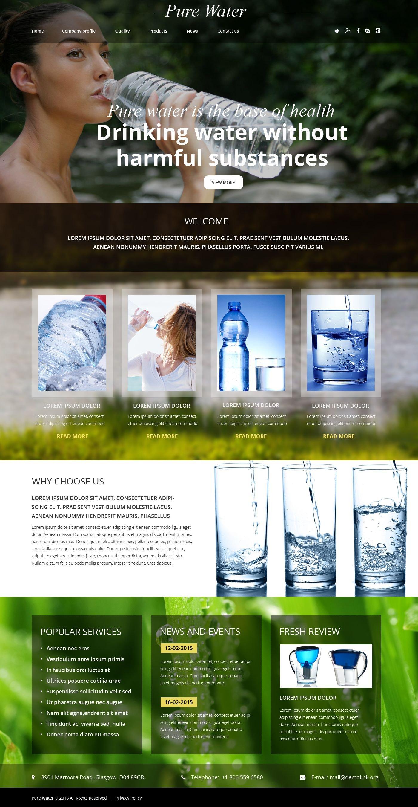 """Plantilla Web """"Pure Water"""" #54887"""