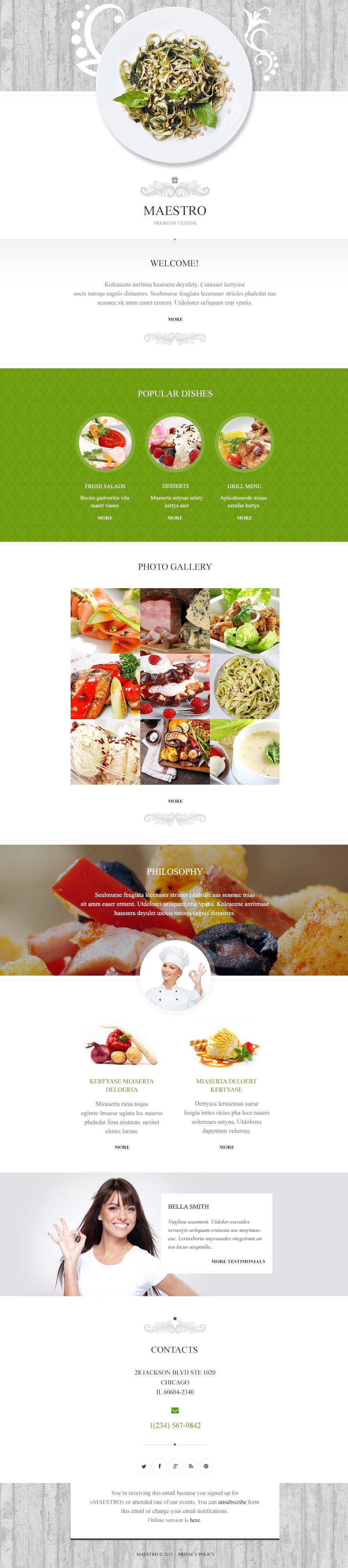 Responsive Newsletter Vorlage für Cafe und Restaurant #54880
