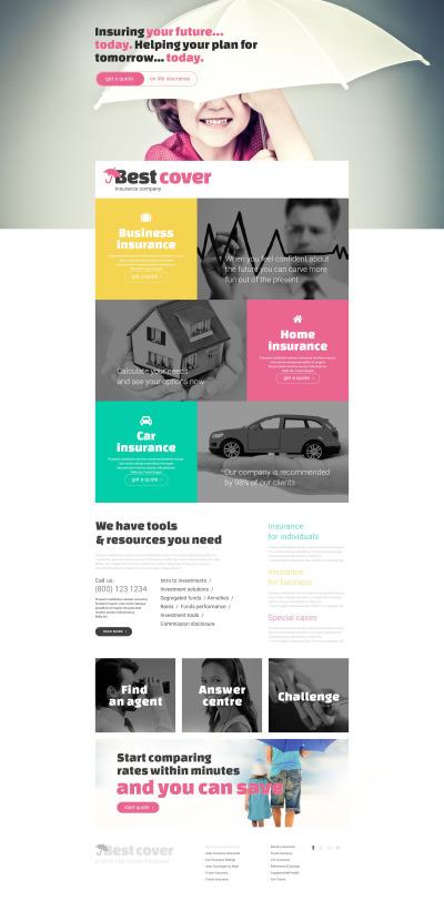 Responsives Landing Page Template für Versicherung Homepage #54822