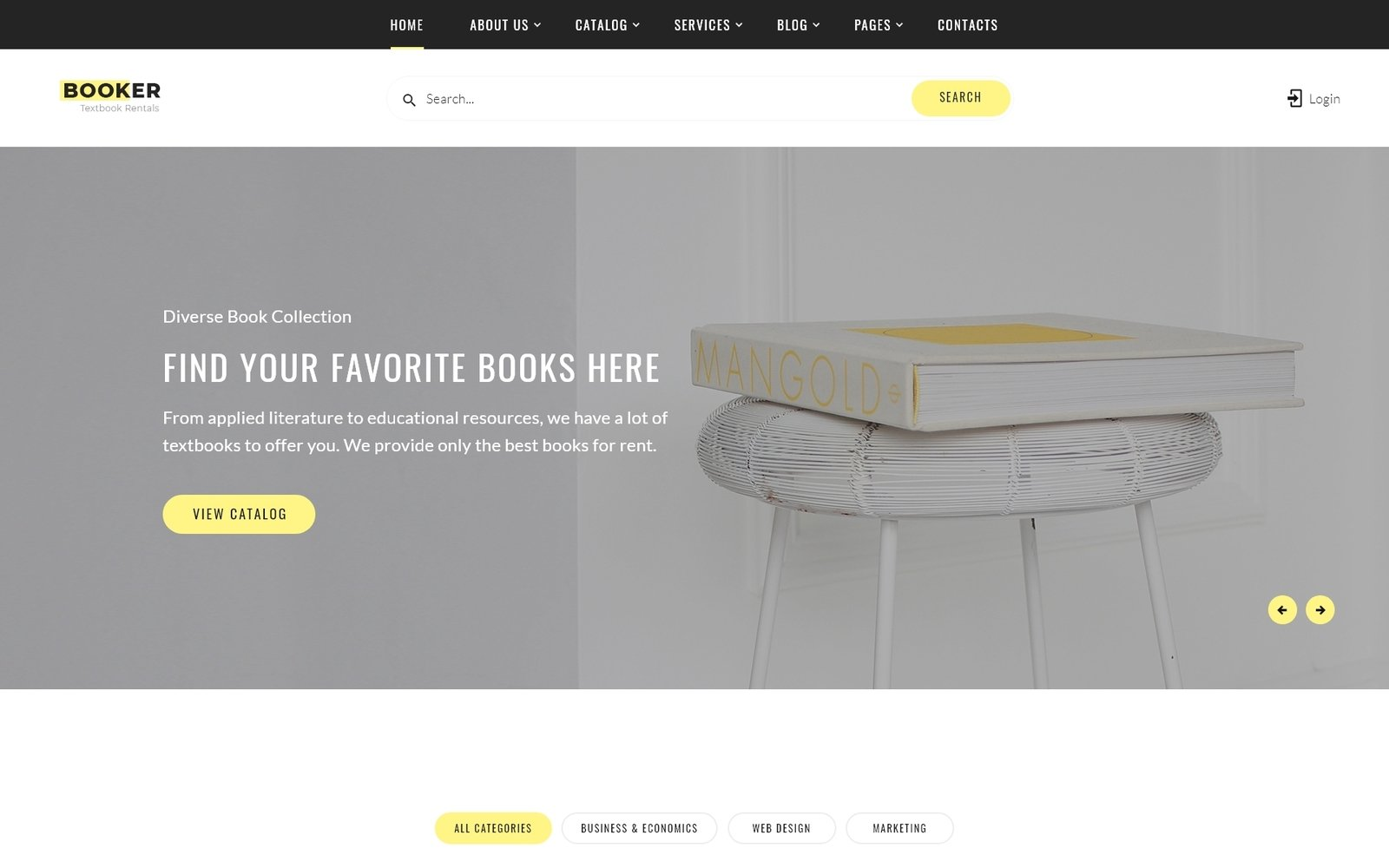 Responsivt Booker - Textbook Rentals Multipage HTML Hemsidemall #54834