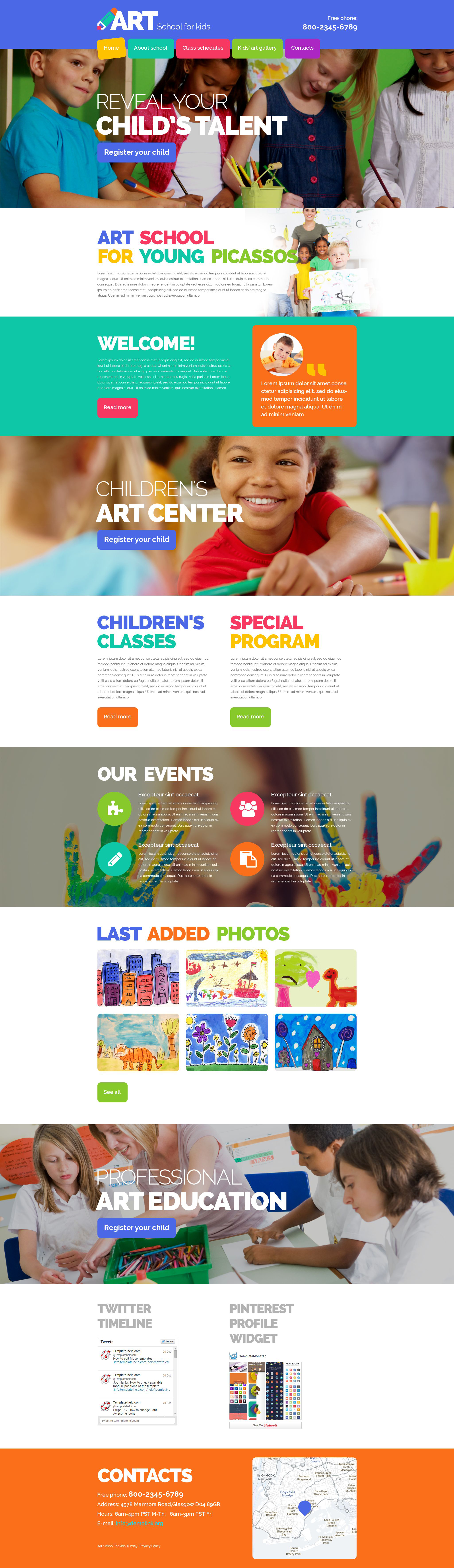 Responsivt Children Art School Hemsidemall #54875 - skärmbild