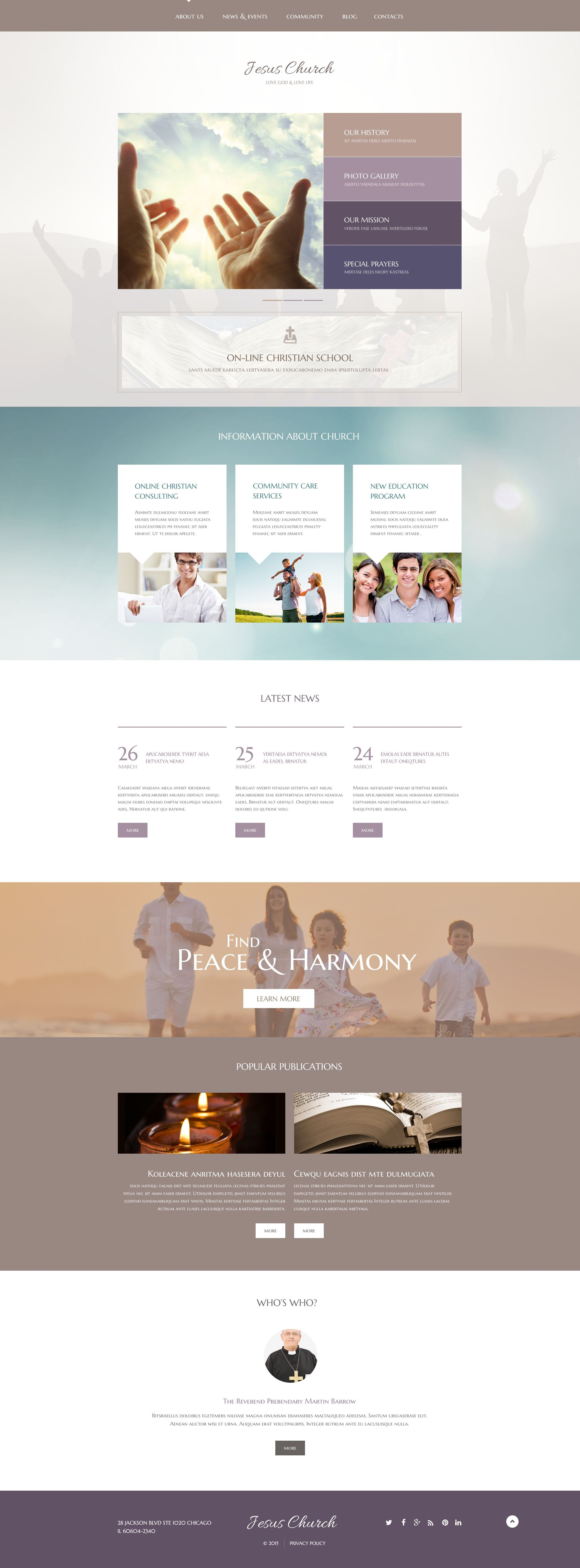 Responsivt Jesus Church WordPress-tema #54859