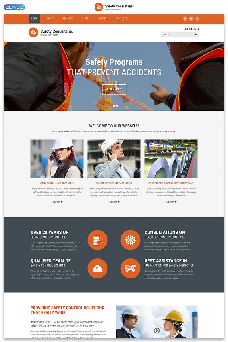 Responsivt Safety Consultants - Security Responsive Clean HTML Hemsidemall #54876 - skärmbild