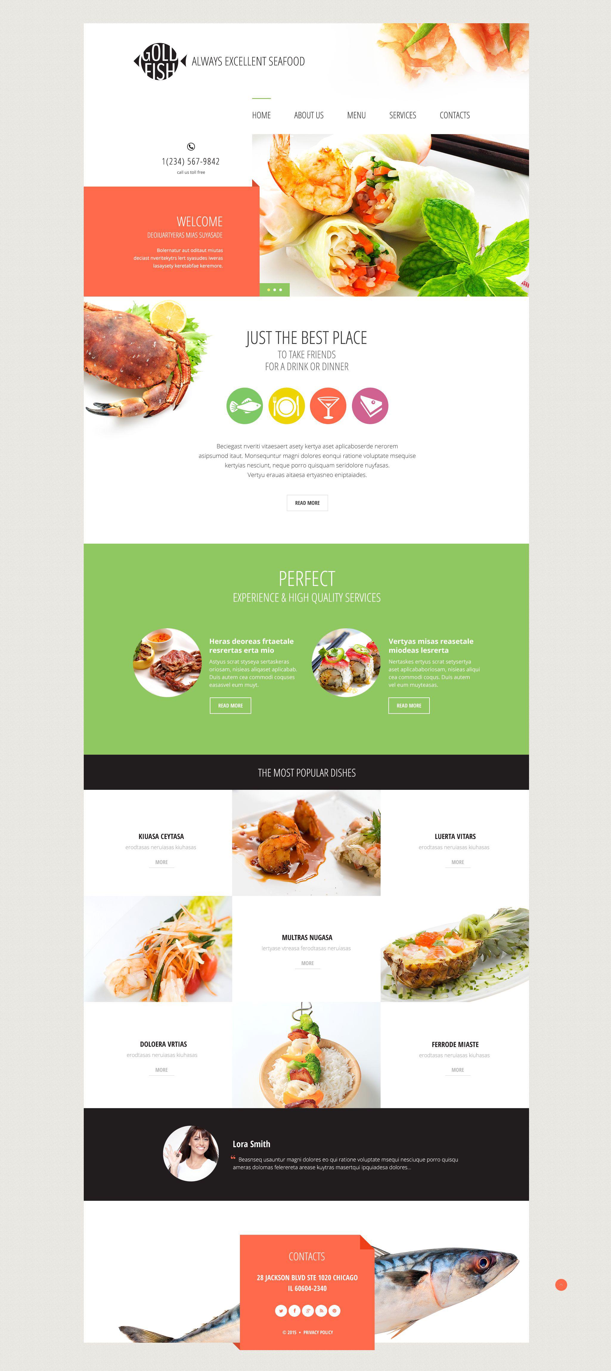 Reszponzív Gold Fish Weboldal sablon 54814 - képernyőkép
