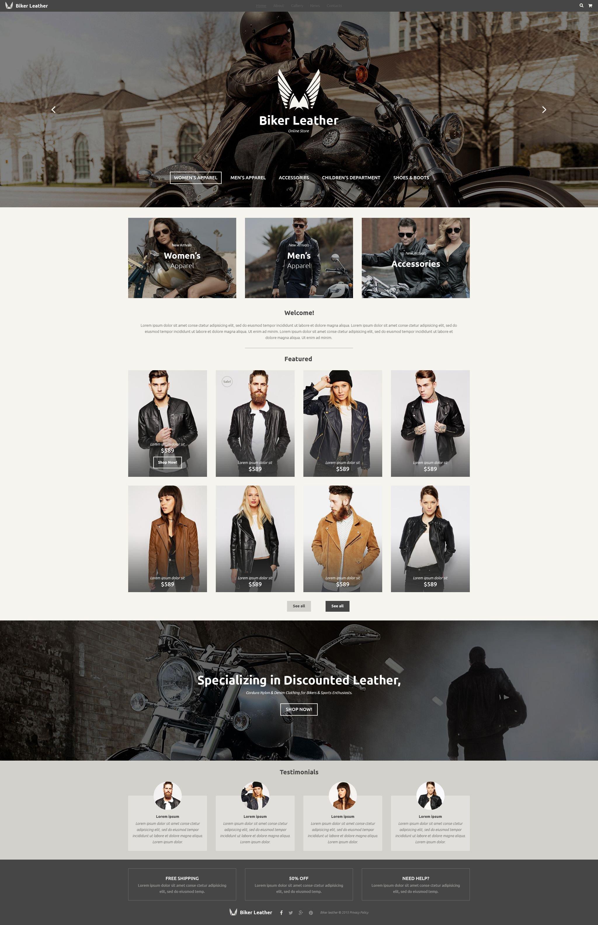 Reszponzív Leather Apparel Store Weboldal sablon 54809