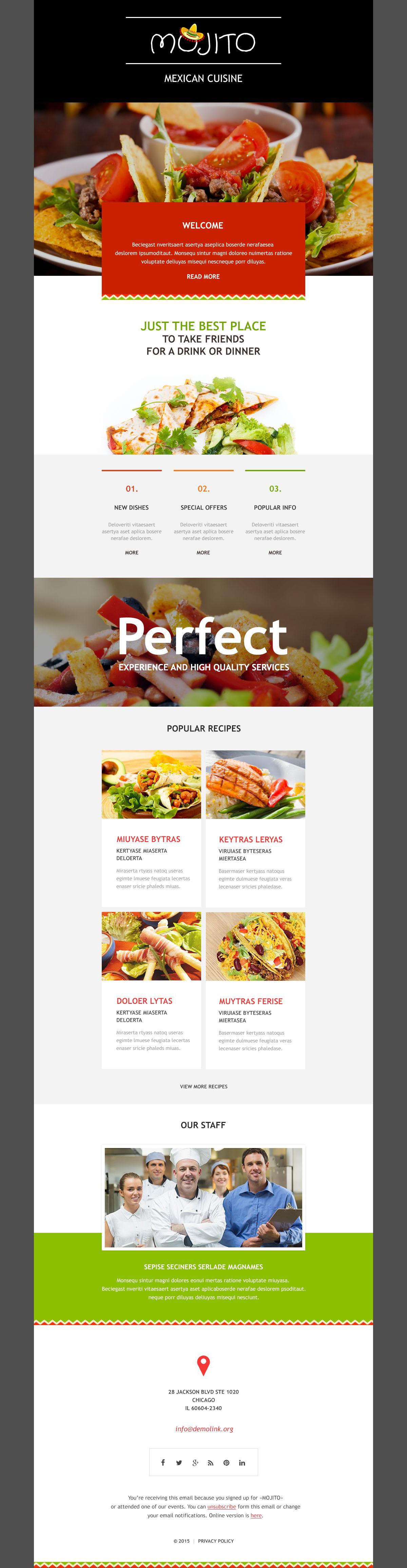 Reszponzív Mexikói étterem Hírlevél sablon 54888