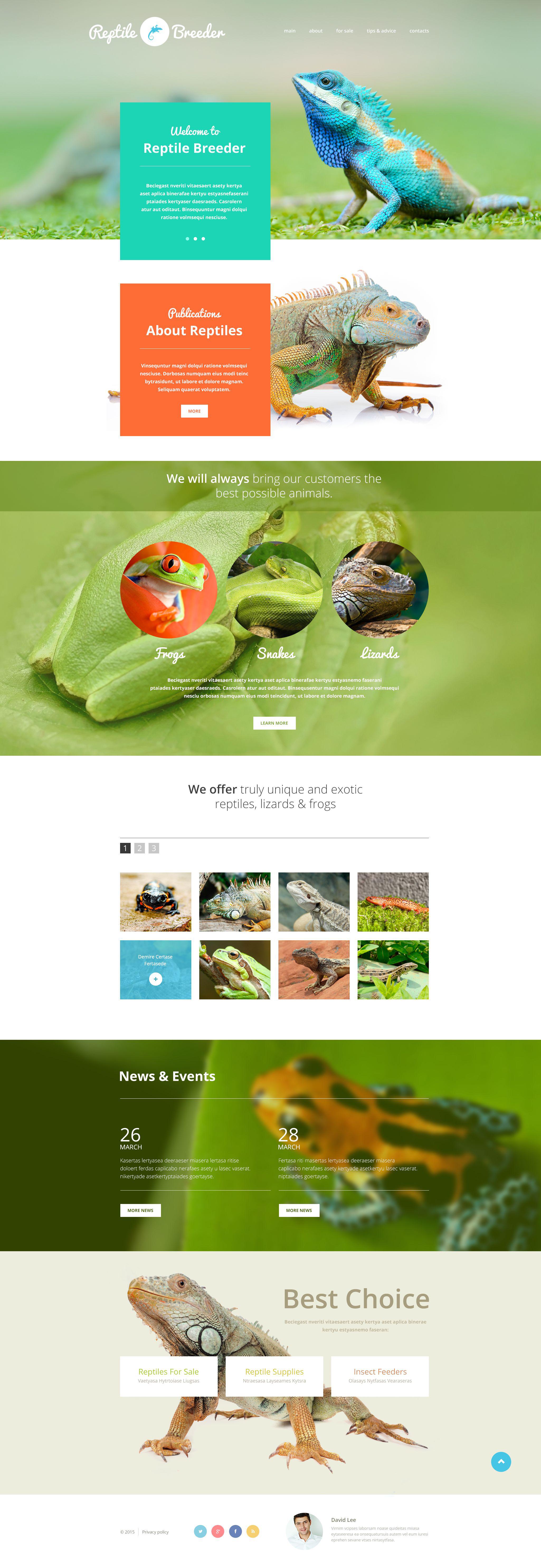 Reszponzív Reptile Breeder Weboldal sablon 54811