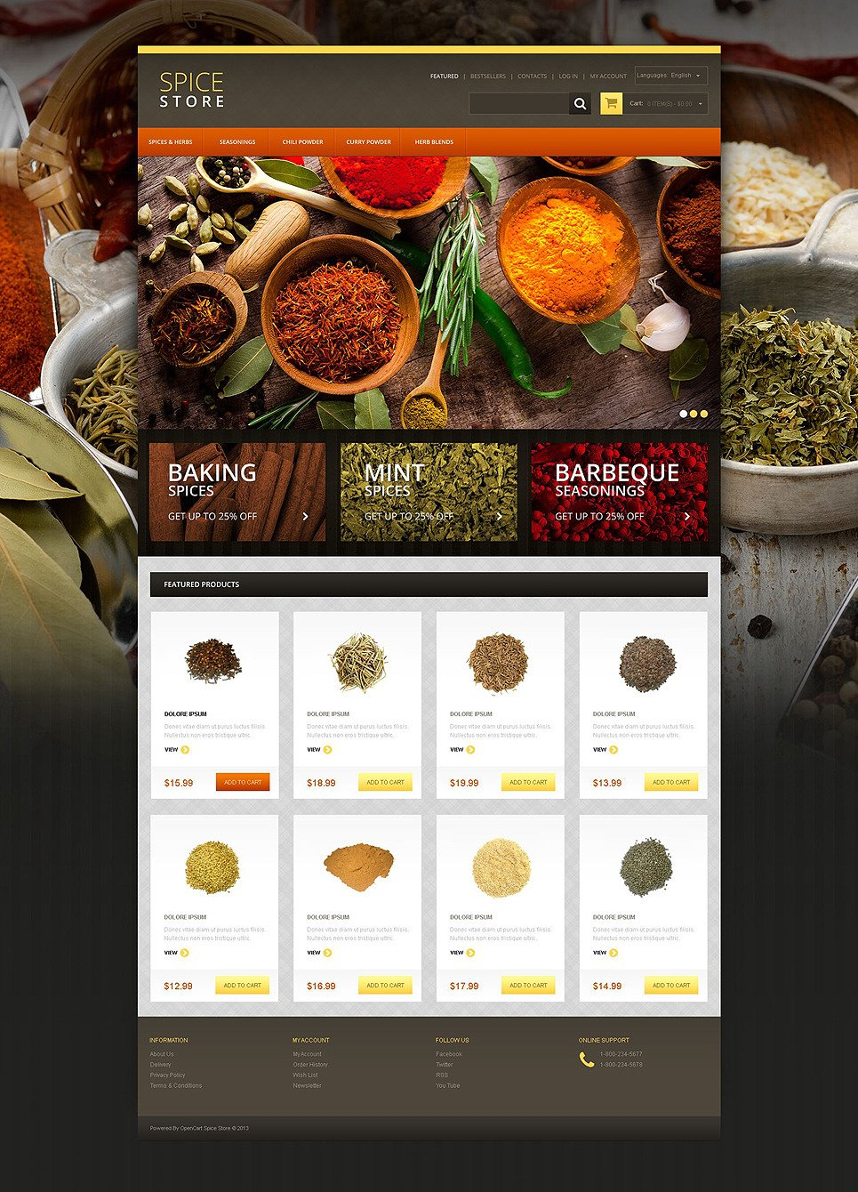 Spice Shop OsCommerce Template New Screenshots BIG