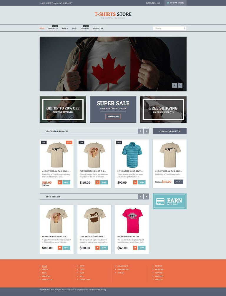 T-shirt Shop Responsive Shopify Theme New Screenshots BIG