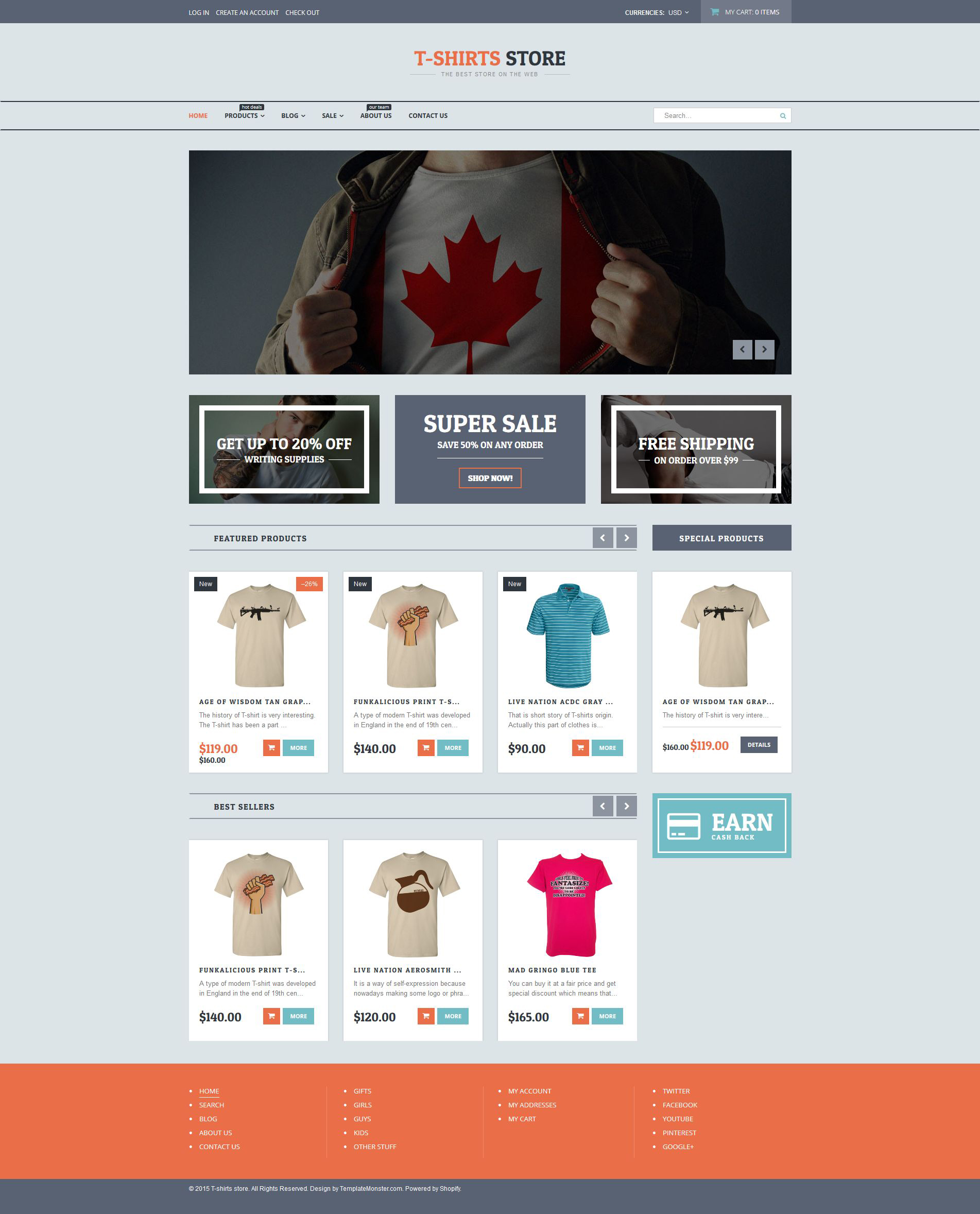 T shirt shop responsive shopify theme 54841 for Create t shirt store online
