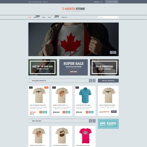T-Shirt Store - Shopify Template based on Bootstrap
