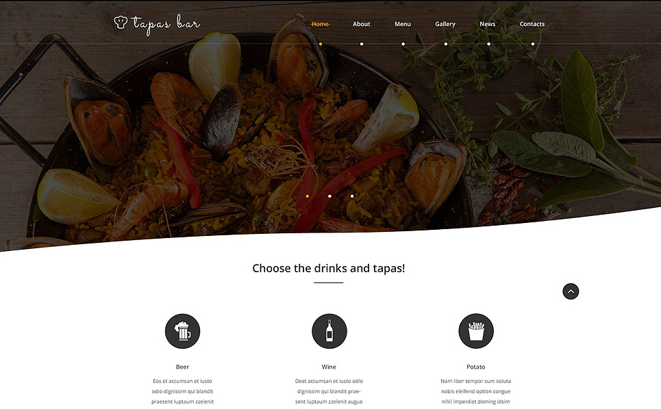 Tapas bar web template for Tapas menu template