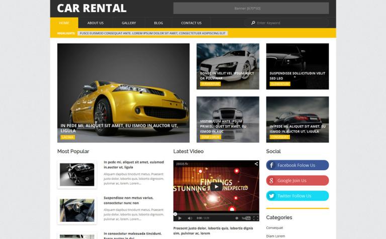 Tema de WordPress #54849 para Sitio de Alquiler de coches