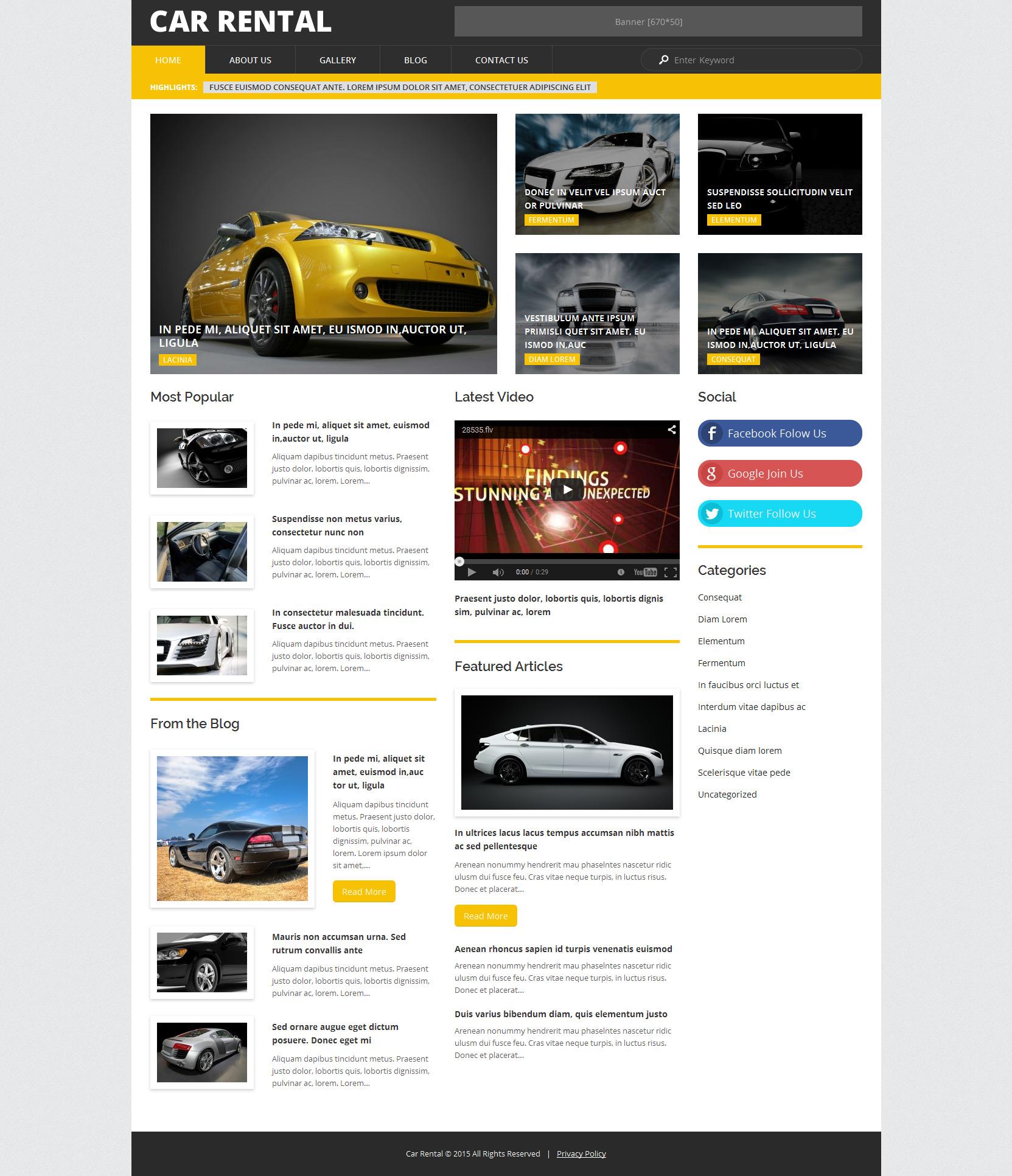 Temas WordPress para Sitios del Alquiler de Coches | TemplateMonster