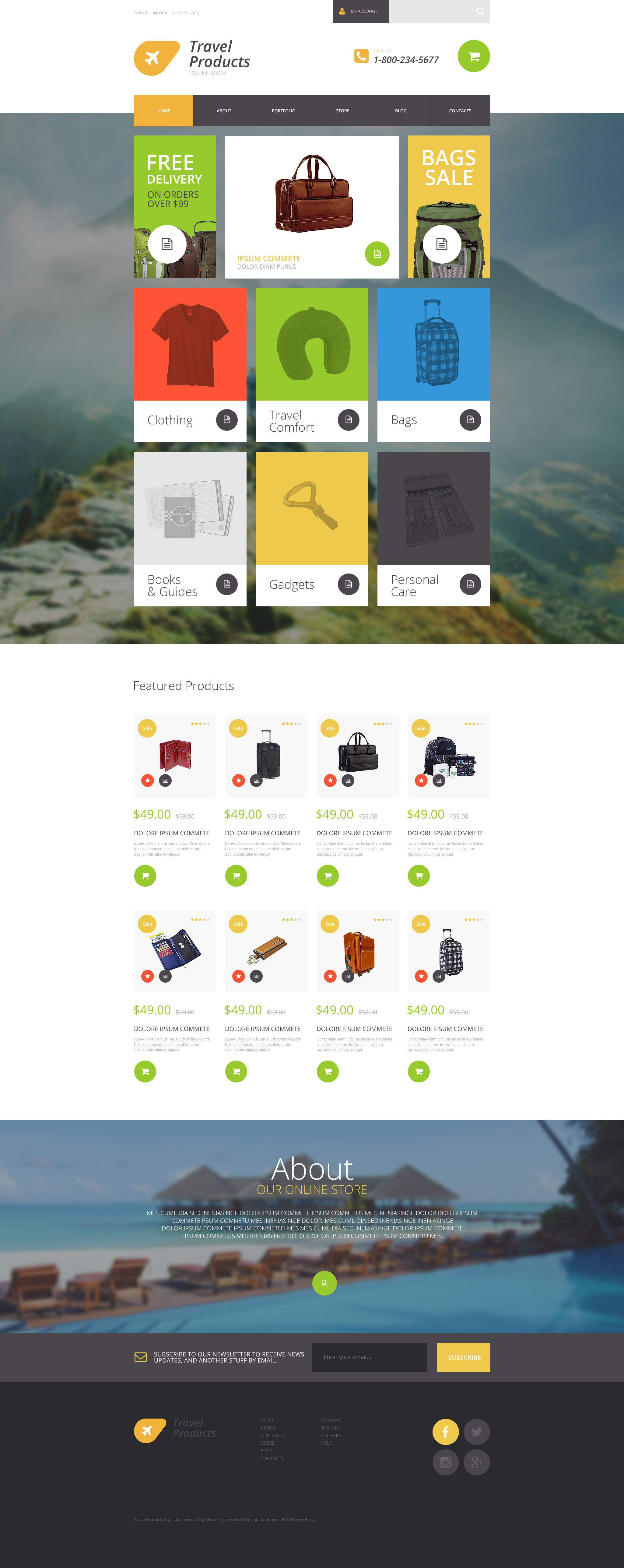 """Tema WooCommerce Responsive #54867 """"Travel Products Store"""""""