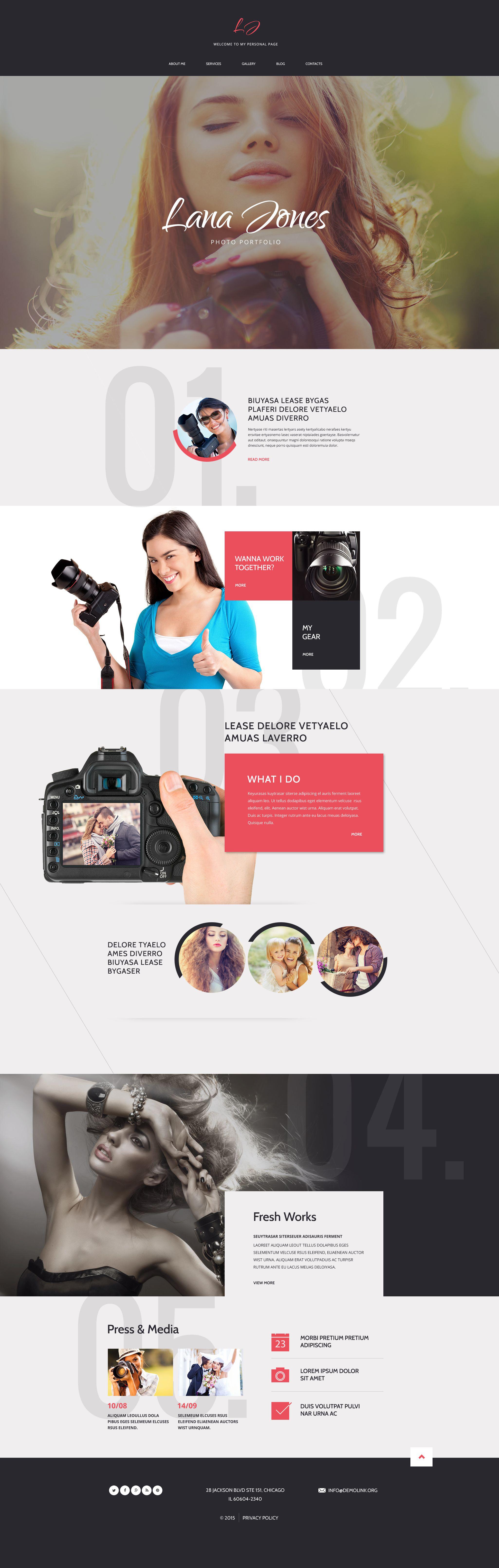 Template Drupal Flexível para Sites de Portfólio de Fotografo №54832