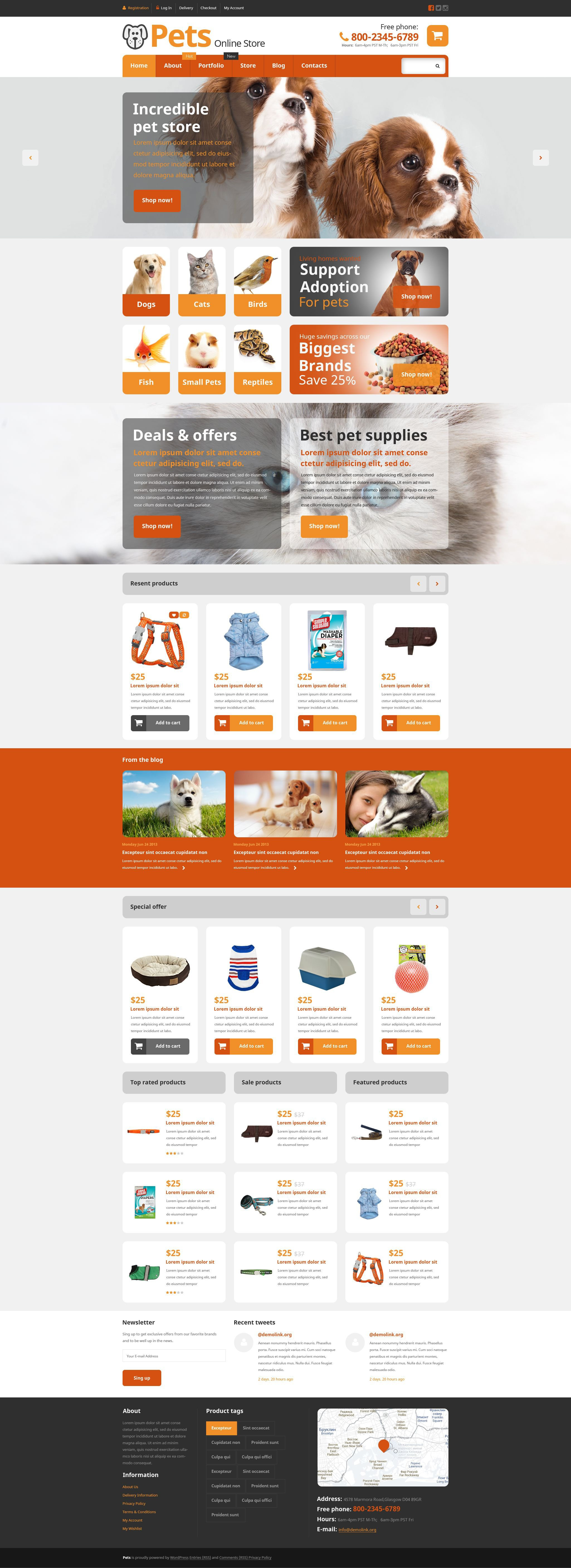 """Template WooCommerce Responsive #54868 """"Pets Online Store"""""""