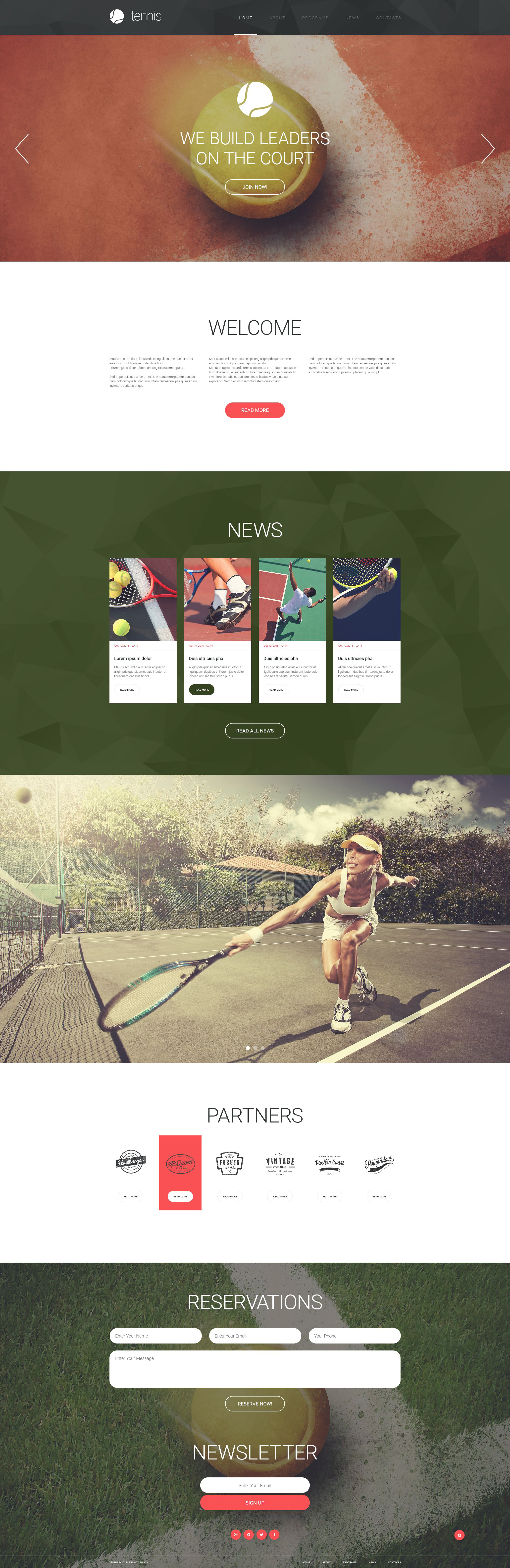 Tennis Responsive Website Template