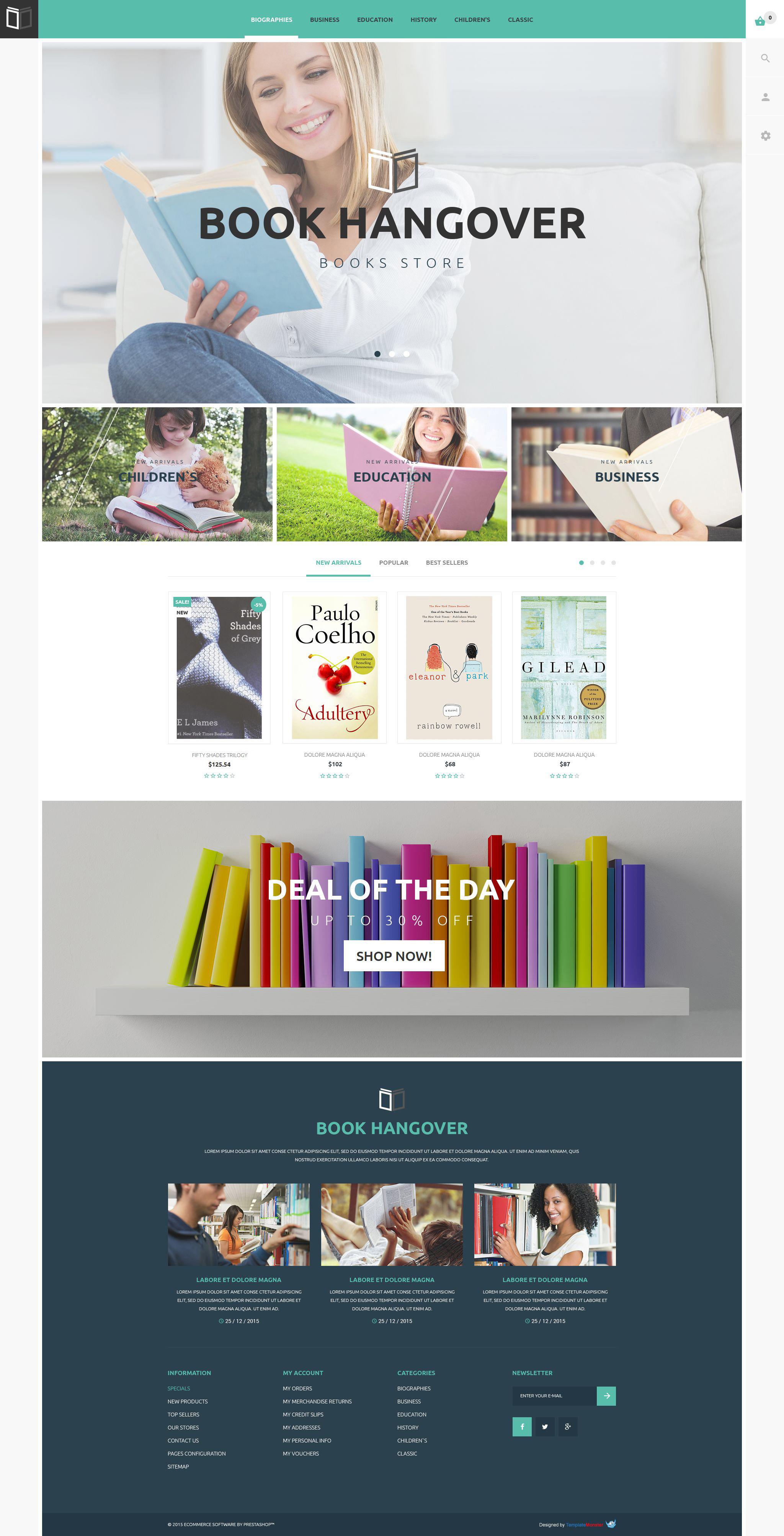 """""""Thème PrestaShop gratuit pour site des bouquins"""" thème PrestaShop adaptatif #54824 - screenshot"""