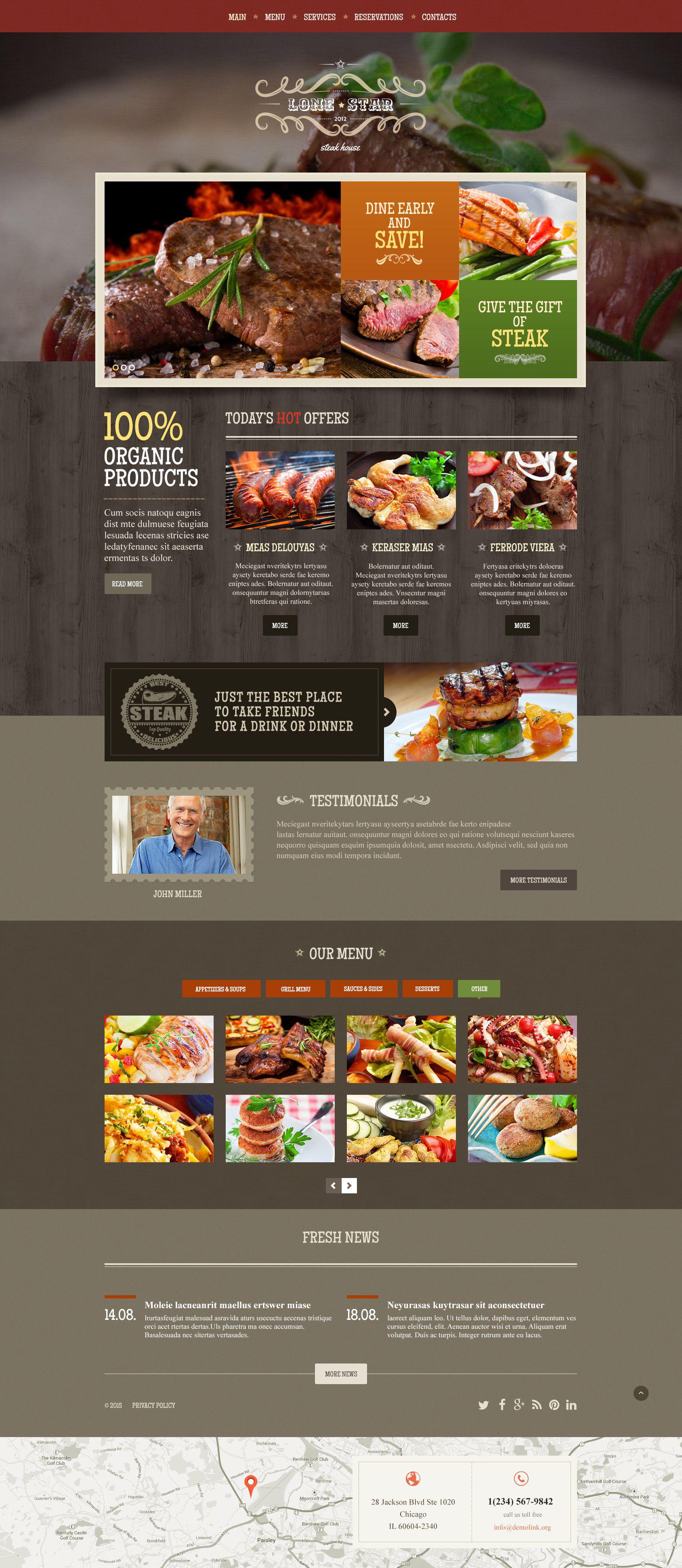Website Vorlage #54819 für Steakhaus