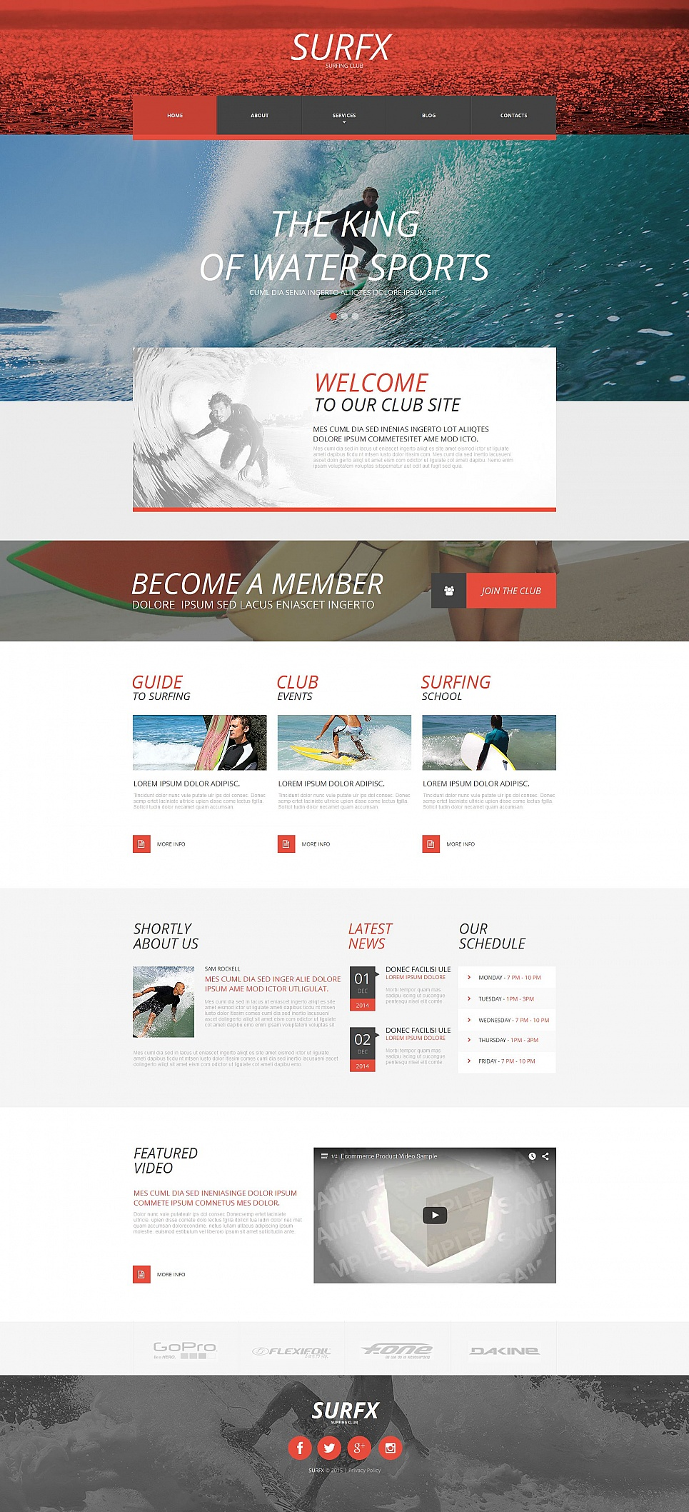 Surfing site template