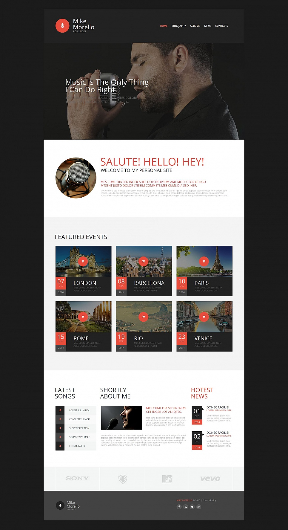 Black web template for musicians