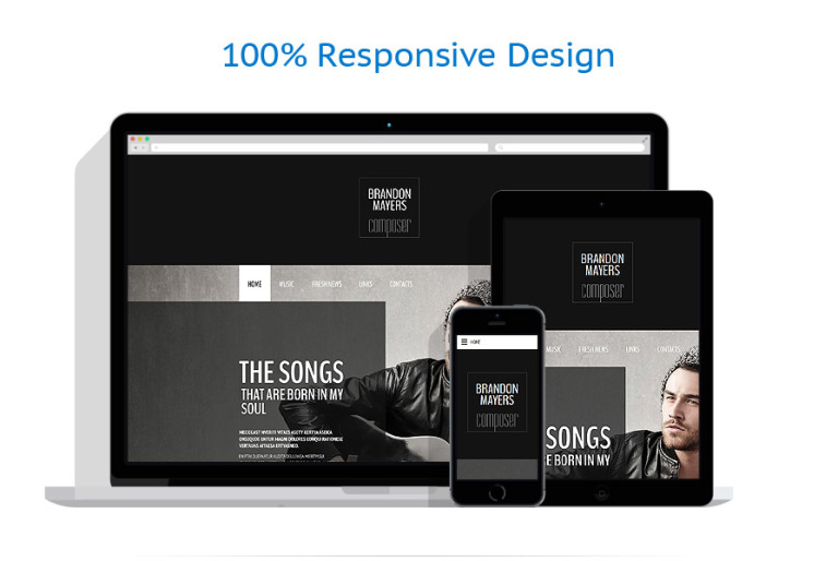 Music composer web template this music composer web template pulls visitors in with an impressive full screen header image further down the main page it shows off musicians maxwellsz